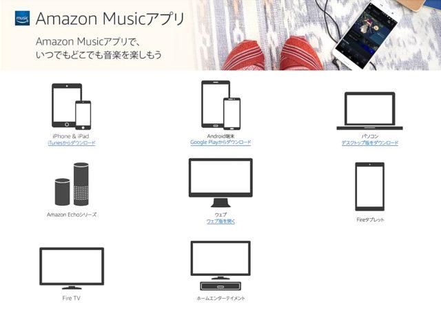 Amazon Musicの各種アプリ