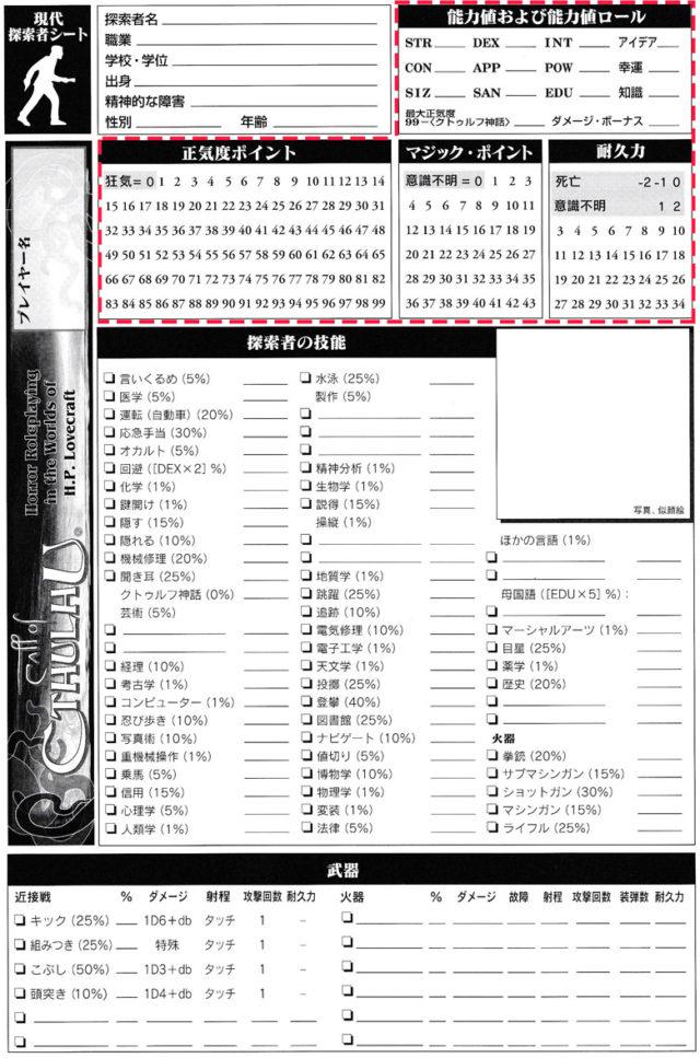 例として掲載した「クトゥルフの呼び声TRPG」のキャラクターシート。赤破線枠が能力値になっている