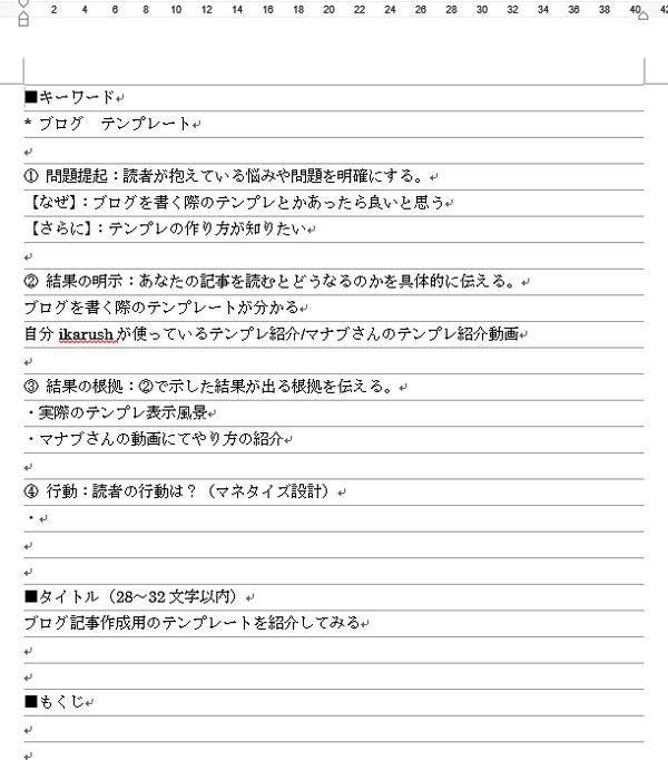 ikarushが今回のブログ作成時に入力した状態の記入例