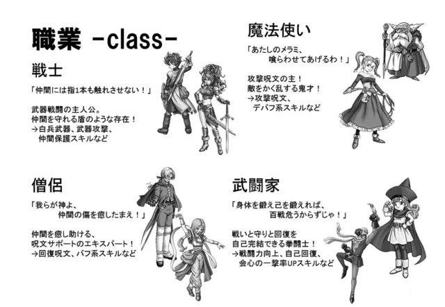 DQsTRPGの基本職1:戦士・僧侶・魔法使い・武闘家
